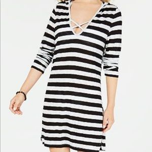MIKEN long sleeve hooded cover up dress